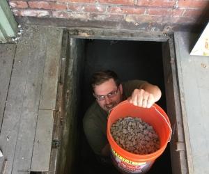 Man in basement hatch